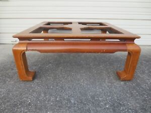 Coffee Table Ming Feet Oriental Burl Wood Hollywood Regency Asian Tail Tlc