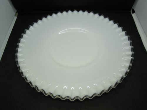 """Vintage Fenton Silver Crest Milk Glass Footed Ruffled Cake Plate Platter 12"""""""