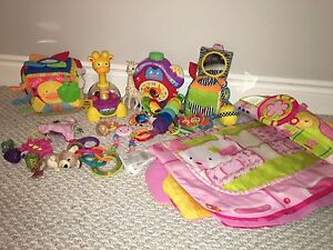 Toy lot: baby toys + rattles + tummy time play mat etc.