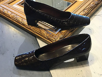 NORDSTROM BROWN CROC SHINY LEATHER 9.5 S N CLASSIC PUMPS HEEL NEW WTW SQUARE TOE