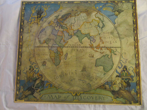 National Geographic N.C. Wyeth Map Of Discovery - Eastern Hemisphere Map 1928