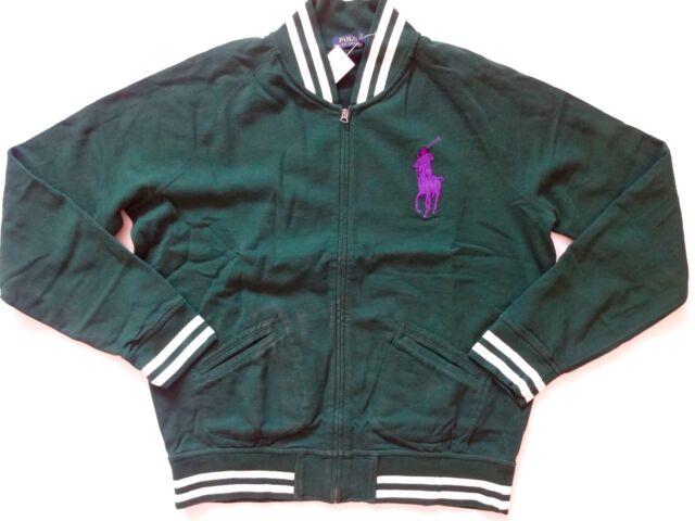 New Ralph Lauren Polo Forest Green Big Pony Zip Up Fleece Cotton Jacket size M