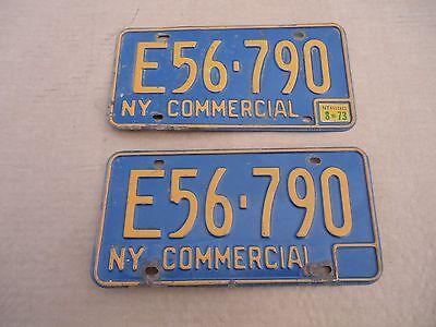 1973 NEW YORK COMMERCIAL License Plates E56-790 NY