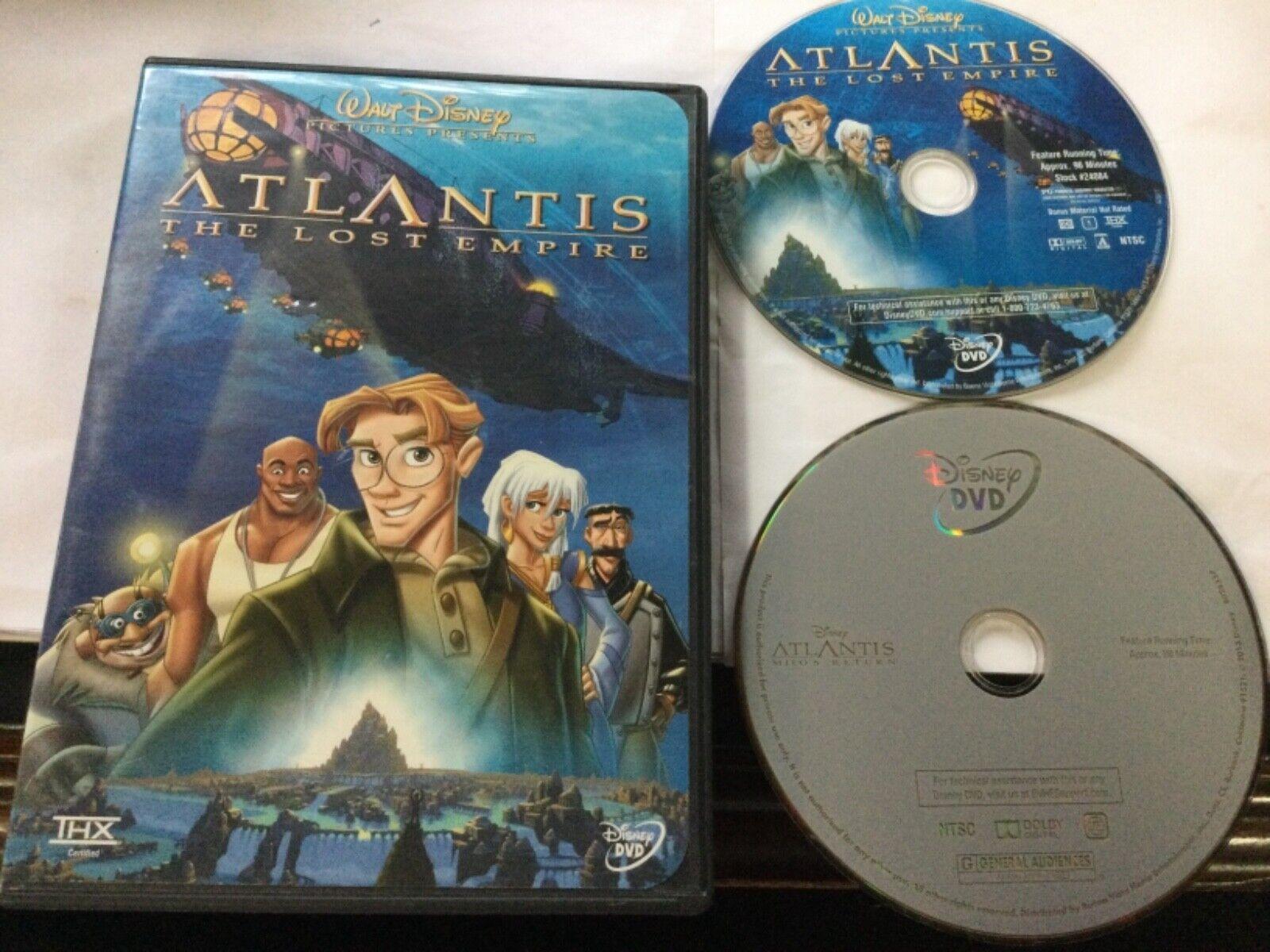 2 Disney ATLANTIS Animated DVD Lot The Lost Empire Milo s Return - $6.99