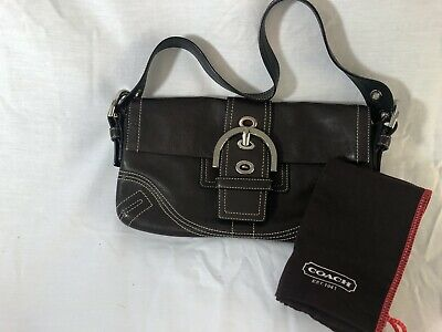 COACH HANDBAG PURSE Shoulder Bag Brown Leather Tote Snap Closure G05D-8A05