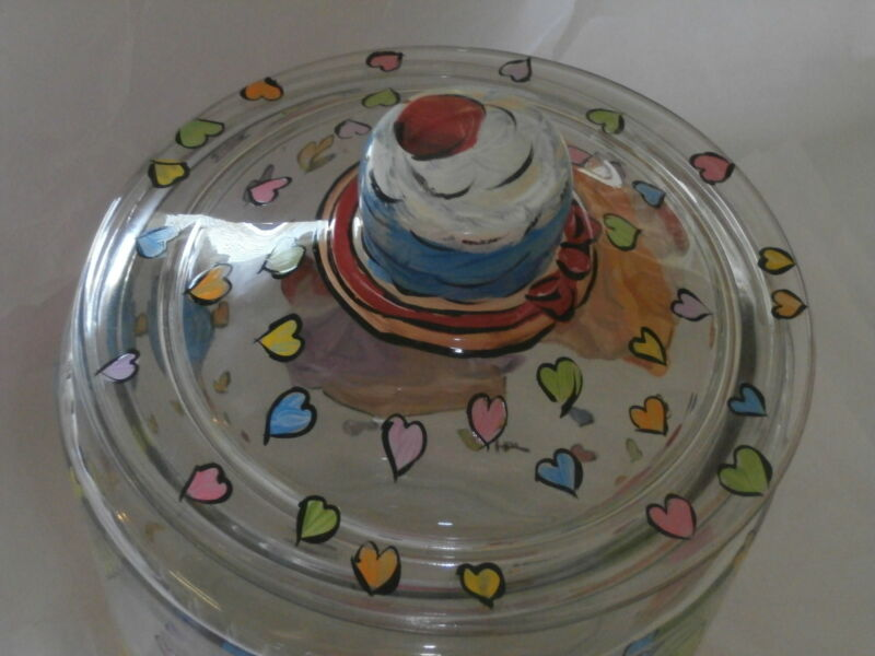 HANDPAINTED FUN ASSORTED CUPCAKES/ ICING/CHERRY  ONE  GALLON COOKIE JAR/CANISTER