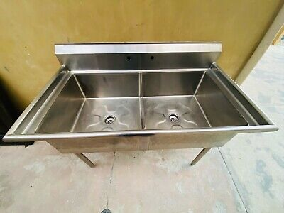 Stainless Steel Two Compartment Commercial Utility Sink