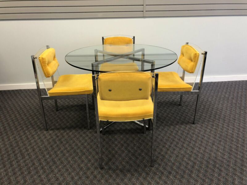 Vintage DINING SET Round Table & 4 Chairs yellow chrome lucite 70s dinette glass