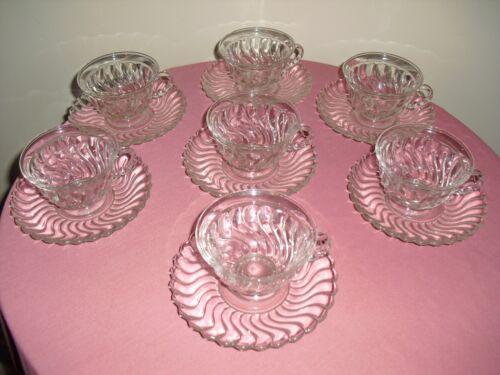 FOSTORIA Colony Set of 7 Swirl Pattern Cups & Saucers 1960s - 1970s