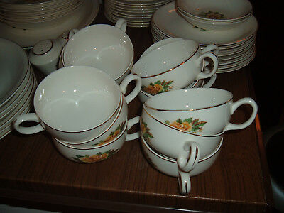 Lot of cups & saucers vintage Paden City Pottery Golden Scepter yellow rose