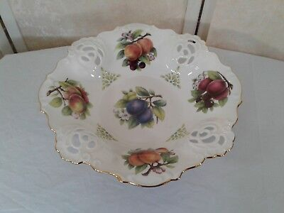(Haas & Czjzek Large Fruit Bowl Stand Handmade Fine Porcelain Czech Republic)