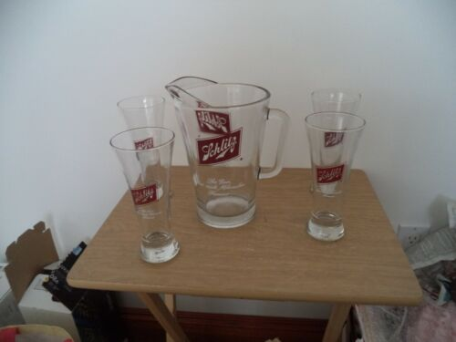 VINTAGE Beer Pitcher Schlitz Crystal Clear Glass Red Logo Milwaukee & 4 GLASSES