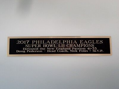 Philadelphia Eagles Super Bowl 52 Nameplate For A Football Display Case 1.5 X 8