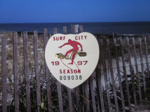 1997  SURF  CITY  NEW  JERSEY  SEASONAL  BEACH   BADGE/TAG (LBI)  24  YEARS  OLD