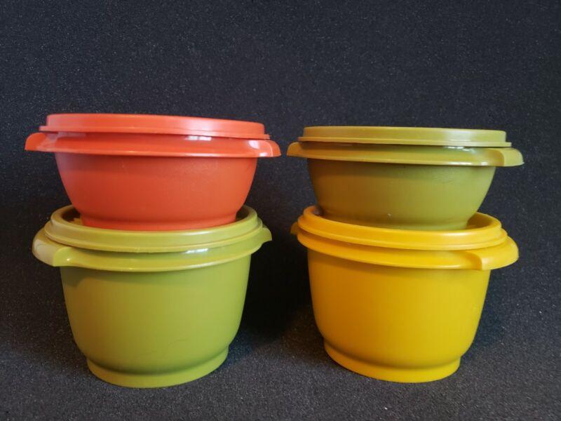 Vintage Tupperware Set of 4 Servalier Bowls w/ Lids Orange Yellow Green