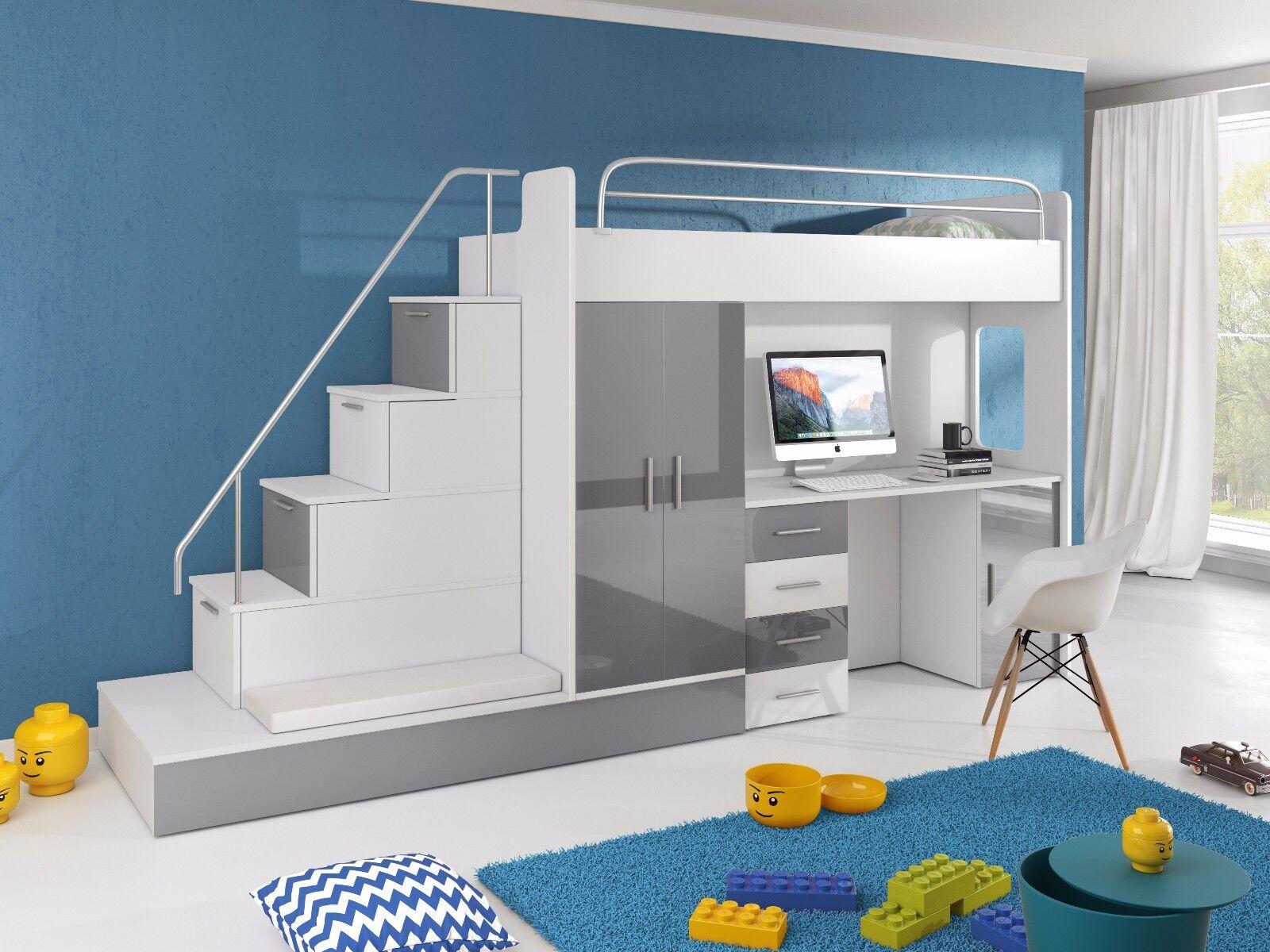 Kinderhochbett weiß  Hochbett TOMI mit Treppe, Schreibtisch, Schrank und Gästebett in ...