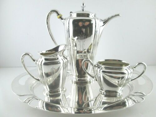 ORCHID by International Sterling Silver Art Deco Coffee Set 4 Pc