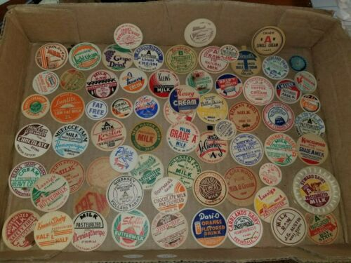 Vintage Milk bottle caps ad lot 69 different dairy farms branded and unbranded