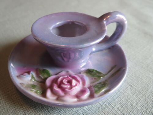 Vtg BLUE Porcelain Candlestick Chamberstick Germany Rose Candle Holder PERFECT