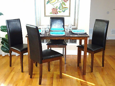 Dining Room Kitchen Set Rectangular Table and 4 Fallabella Chairs Dark Walnut