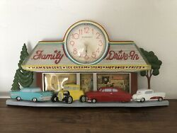 Vintage Coca Cola Family Drive In Diner Wall / Table Clock Antique Classic Cars