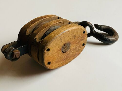 Antique Industrial Wood/Steel Tackle Two Wheel Rope Double Pulley Nautical ~Boat