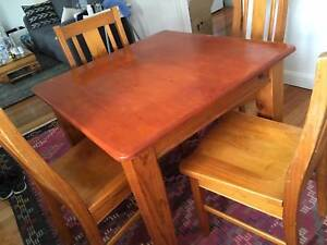 TIMBER DINING TABLE WITH 4 CHAIRS