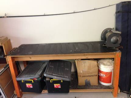Work Bench including wood vice and heavy duty grinder