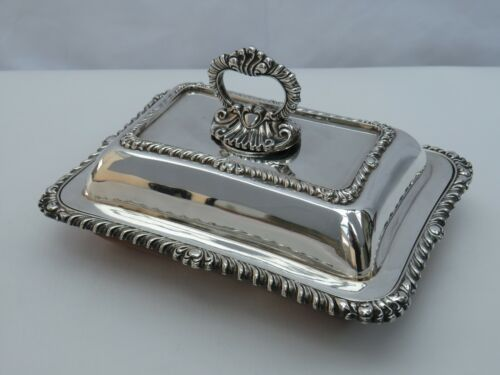 Antique or vintage small ornate silver plated entree dish