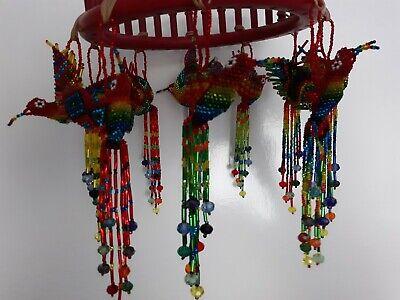Hummingbird Beaded Ornament Decoration Charm Hanging Glass Beads Rainbow Ruby