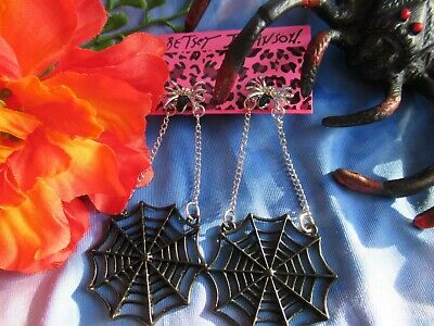 BETSEY JOHNSON SILVER SPIDER BLACK ENAMEL SPIDER WEB DANGLE EARRINGS NEW