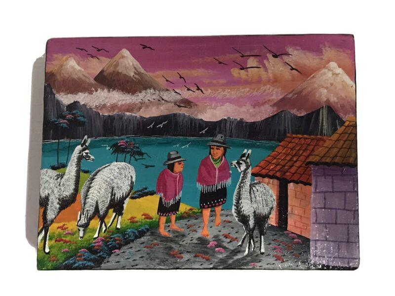 Peruvian Folk Art On Canvas. Quechua and Llamas. Llama painting. Lake Titicaca