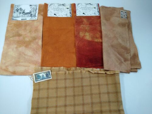 lot 5x ORANGE felted wool fabric penny rug hooking applique hand dyed PLAID Fall