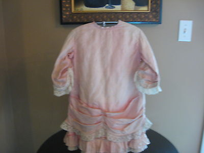 Antique Victorian Childs Pink Silk and Lace Church Dress ANTIQUE OLD DOLL DRESS  on Rummage
