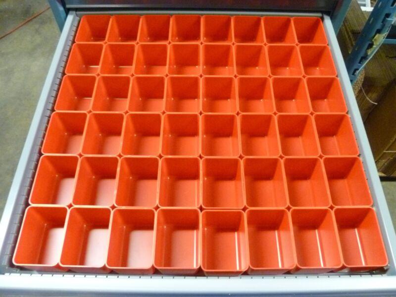 """48 3""""x4""""x3"""" deep Red Plastic Box Lista Vidmar Toolbox Organizer Cups Drawer bins"""