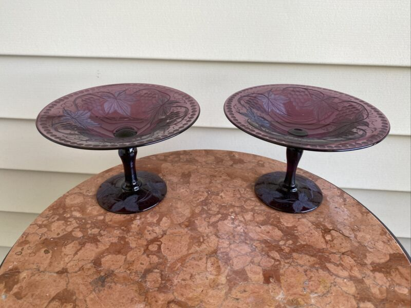 Pair Antique Art Deco Pairpoint Engraved Grapes Amethyst Purple Glass Compotes