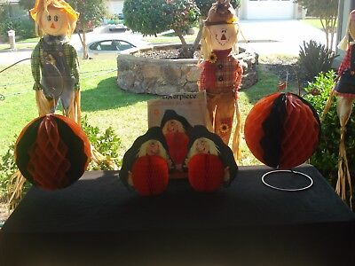 Vintage Amscan Halloween Wicked Witch Centerpiece(2)-- Vintage Honeycomb Decor.
