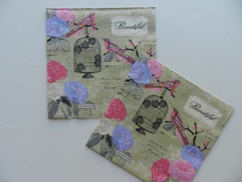 2 (Two) Single Lunch Size Paper Napkins Decoupage Birdcage in Romantic Garden