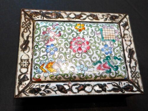 Antique Vintage Chinese CLOISONNE Enamel Wood Lined Brass Trinket Jewelry Box