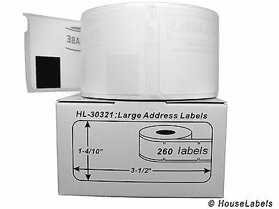 10 Rolls Of 260 Lg Address Labels In Mini-cartons For Dymo Labelwriter 30321