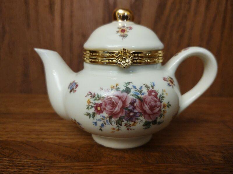 Vintage Formalities Baum Bros Tea Pot Hinged Trinket Box FLORAL PINK ROSES