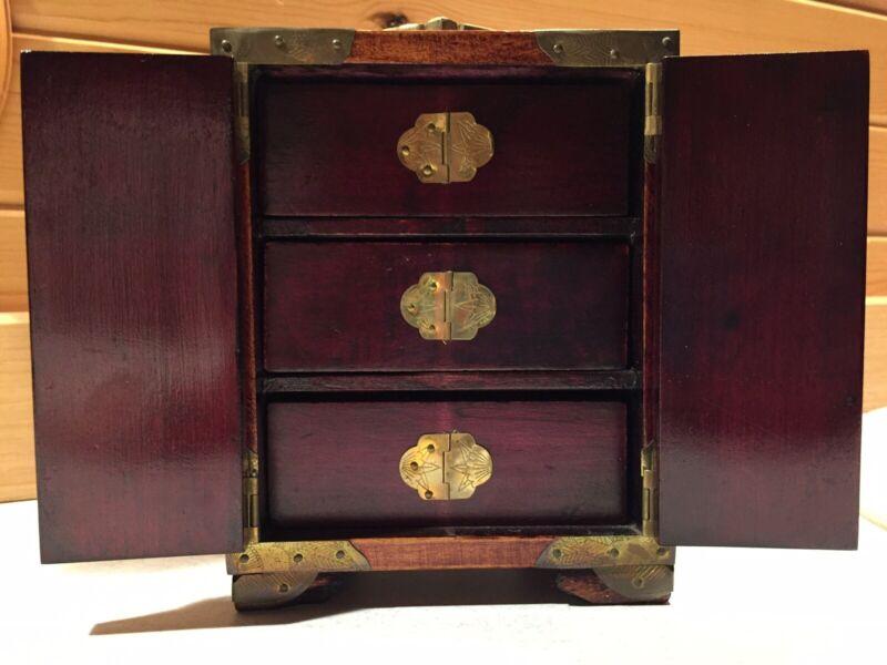 Vintage Rare Chinese Rosewood Jewelry Box/Cabinet Brass Nephrite/Jade w/key Lock