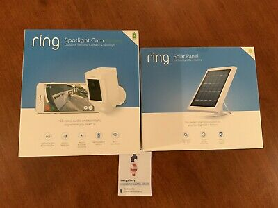 Ring Security Surveillance Camera Spotlight Cam Solar Wireless Battery HD White
