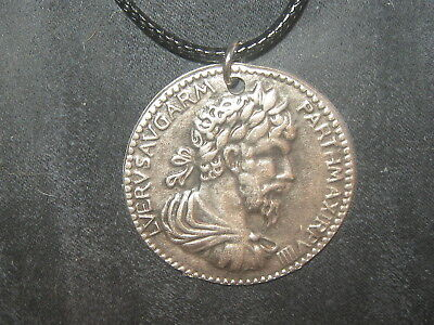 Replica Charm Necklace (REPLICA ANCIENT ROMAN CHARIOT SILVER TONE COIN PEWTER PENDANT CHARM NECKLACE  )