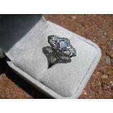 Victorian 18k White Gold Filigree Sapphire/Diamond Ring, size 7
