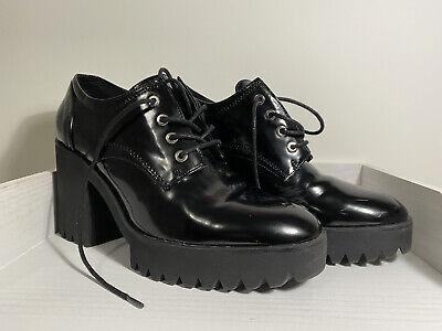 Zara TRF Trafaluc Patent Leather Platform Oxford Lace Shoes Black EU 39 US 8.5