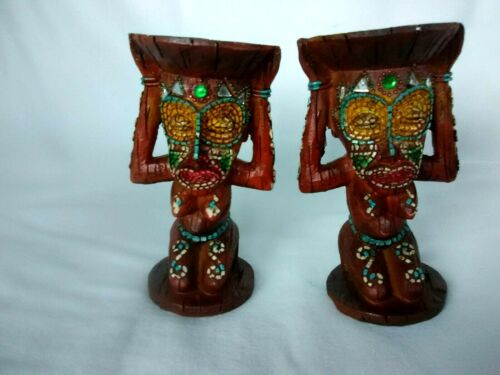 """2 Carved Wood Wooden Tiki Polynesian Topless  Candle Holders Candlesticks 5"""""""