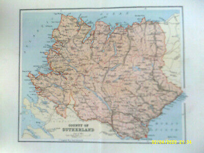 Antique Map. COUNTY OF SUTHERLAND. 1895. VG.