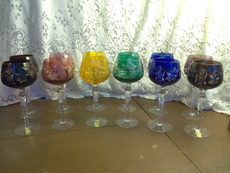 """Set of 12 Imperlux Multi-Color Cut to Clear Crystal Wine Hocks 8"""""""