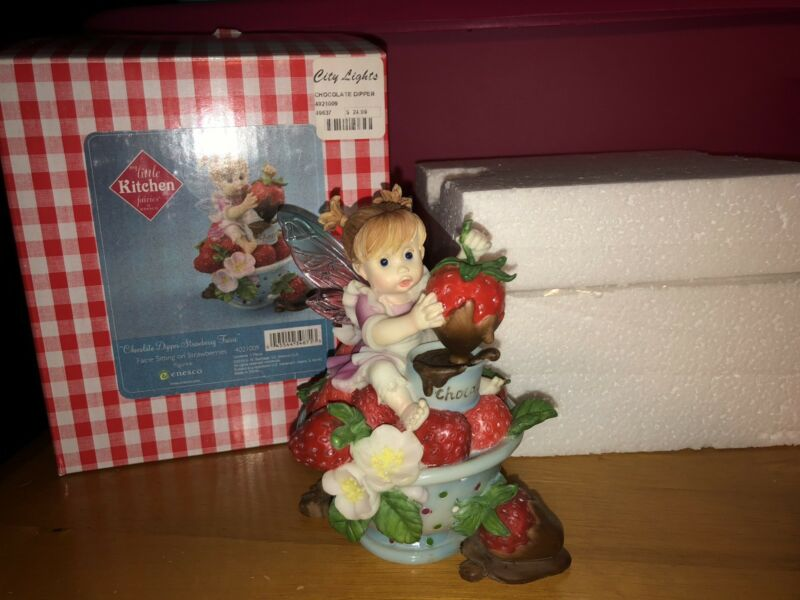 "My Little Kitchen Fairies ""CHOCOLATE DIPPER STRAWBERRY FAIRIE""  NIB 🍓"